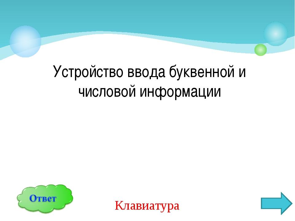 Устройство ввода буквенной и числовой информации Клавиатура