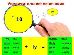 Увеличительное окончание ˣ 10 ty ty + = Two six three seven four eight five n