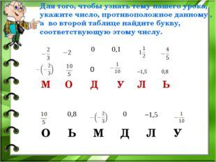 М О Д У Л Ь 0 1,5 0,8 Для того, чтобы узнать тему нашего урока, укажите числ