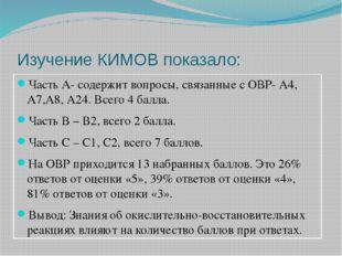 Изучение КИМОВ показало: Часть А- содержит вопросы, связанные с ОВР- А4, А7,А
