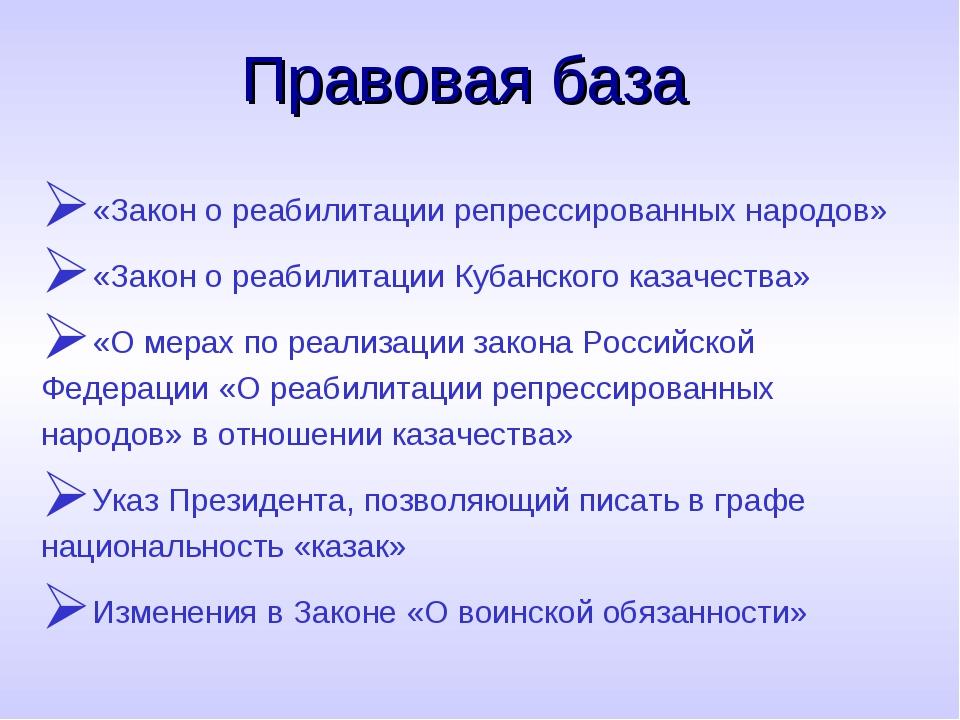 Правовая база «Закон о реабилитации репрессированных народов» «Закон о реабил...