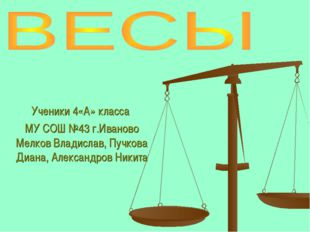 Ученики 4«А» класса МУ СОШ №43 г.Иваново Мелков Владислав, Пучкова Диана, Але