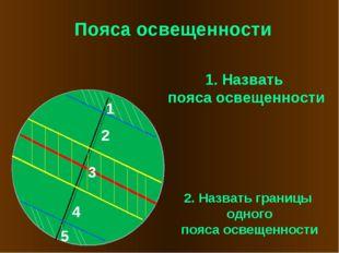 Пояса освещенности 1 2 3 4 5 1. Назвать пояса освещенности 2. Назвать границы
