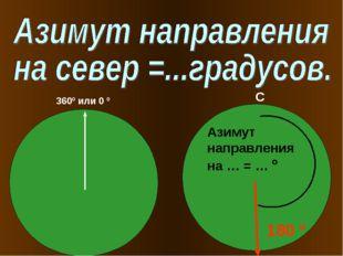 360º или 0 º Азимут направления на … = … º 180 º С