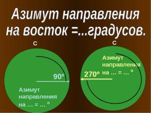 90º 270º Азимут направления на … = … º Азимут направления на … = … º С С
