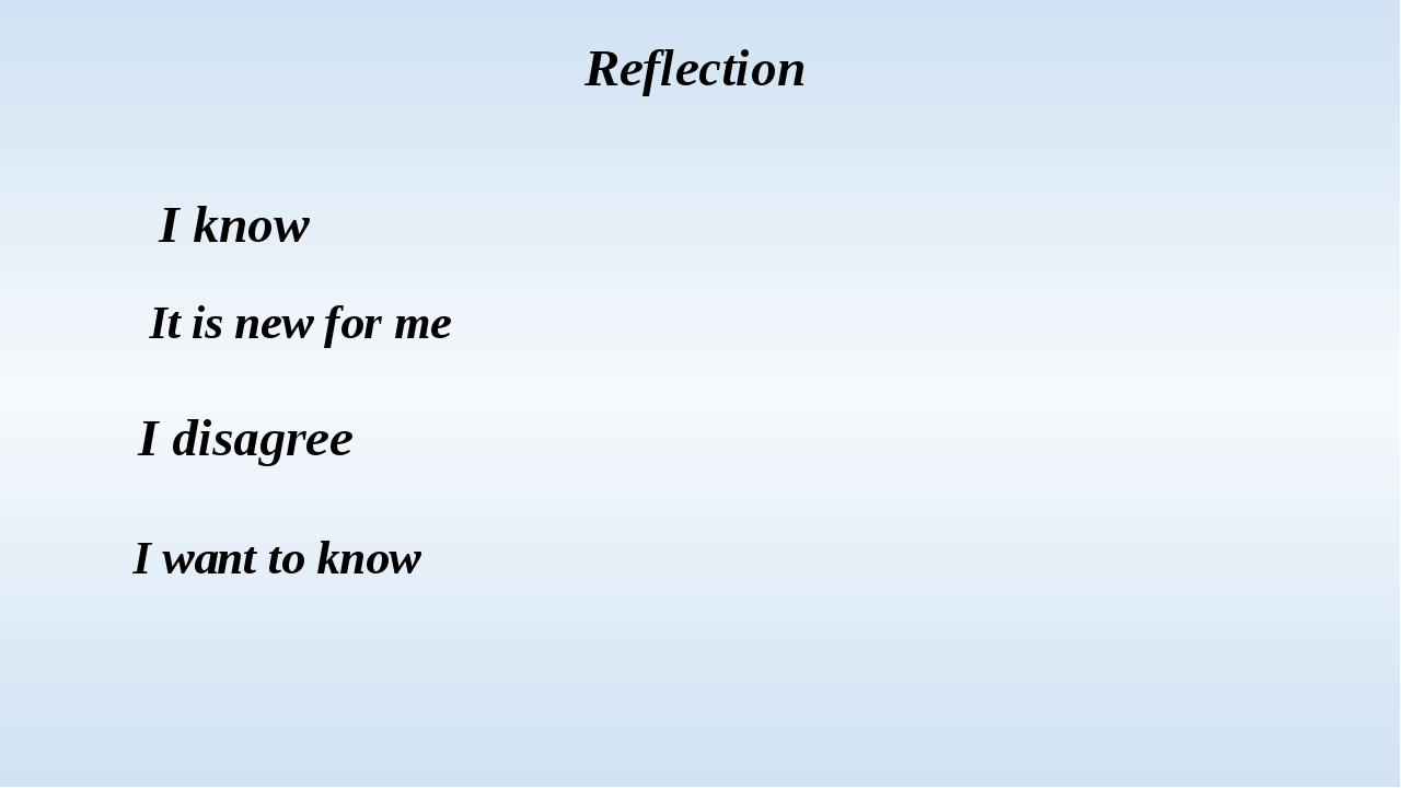 Reflection I know It is new for me I disagree I want to know
