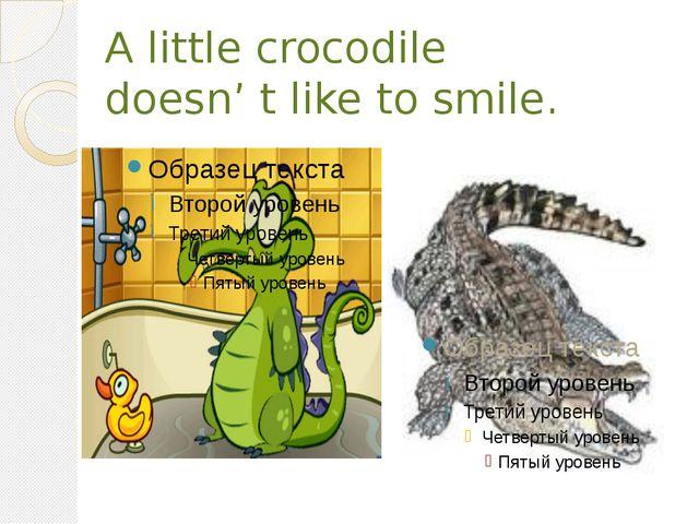 A little crocodile doesn' t like to smile.