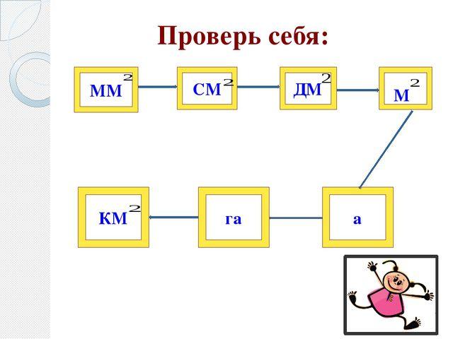 Проверь себя: ММ СМ ДМ а га КМ М