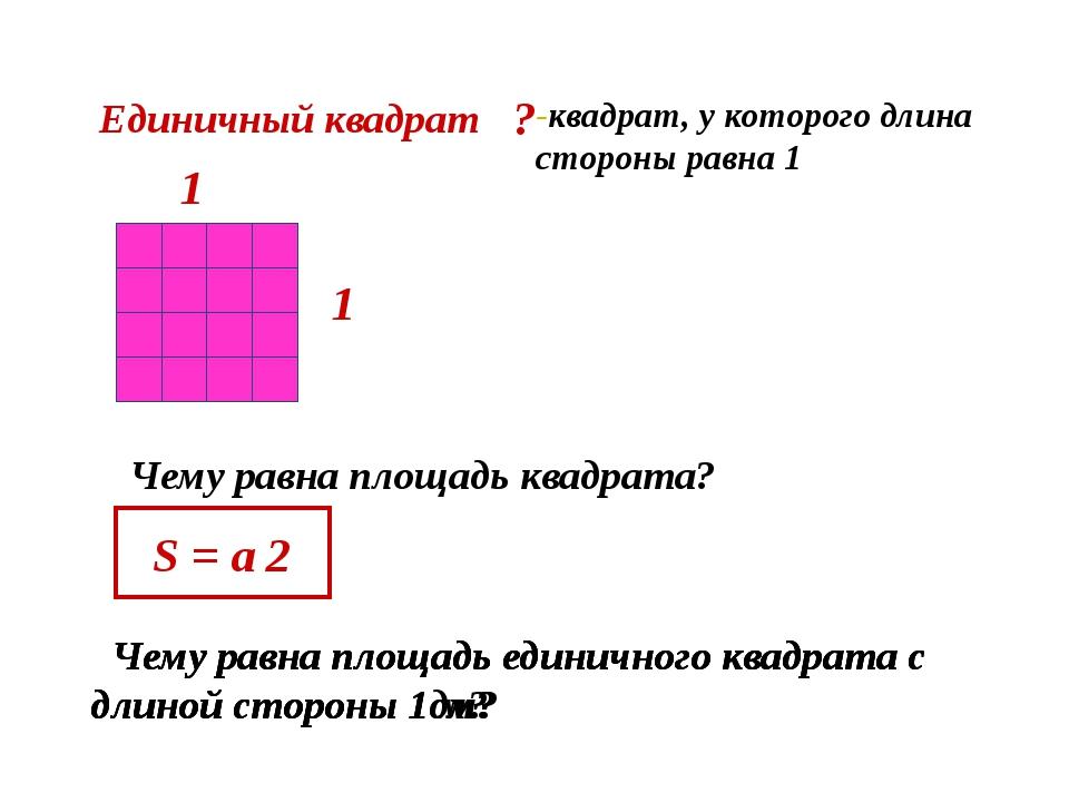 Единичный квадрат Чему равна площадь квадрата? 1 1 S = a 2 -квадрат, у котор...