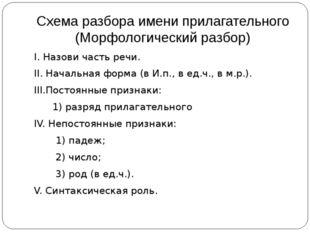 Схема разбора имени прилагательного (Морфологический разбор) I. Назови часть
