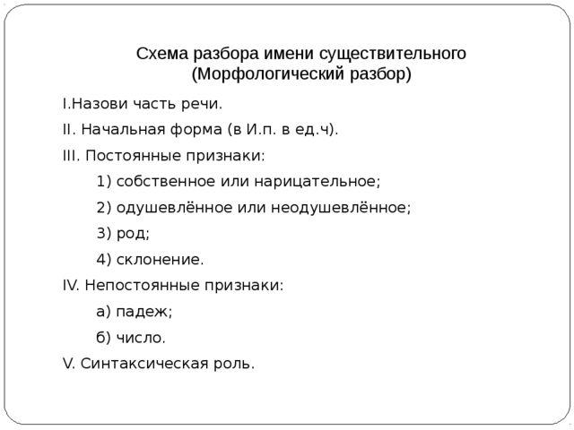 Схема разбора имени существительного (Морфологический разбор) I.Назови часть...