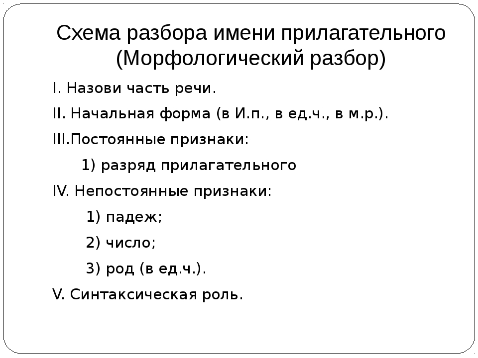Схема разбора имени прилагательного (Морфологический разбор) I. Назови часть...