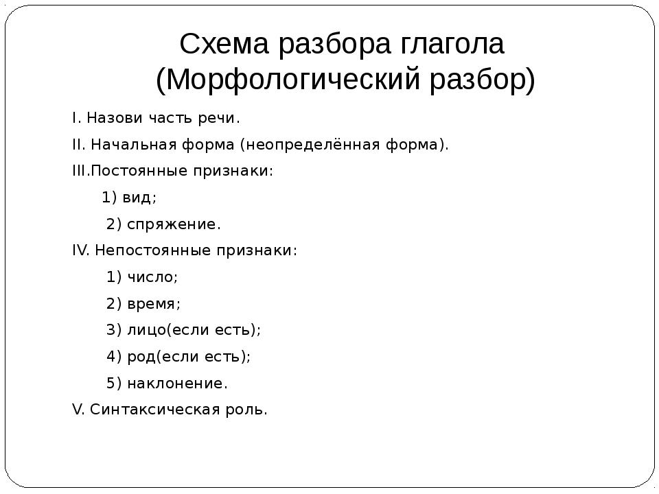 Схема разбора глагола (Морфологический разбор) I. Назови часть речи. II. Нача...