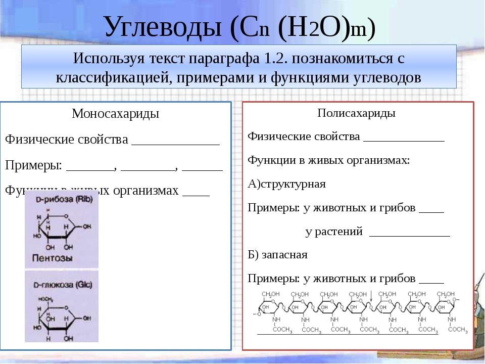 Углеводы (Сn (Н2О)m) Моносахариды Физические свойства _____________ Примеры:...