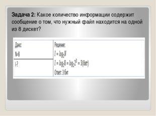 Задача 2:Какое количество информации содержит сообщение о том, что нужный ф