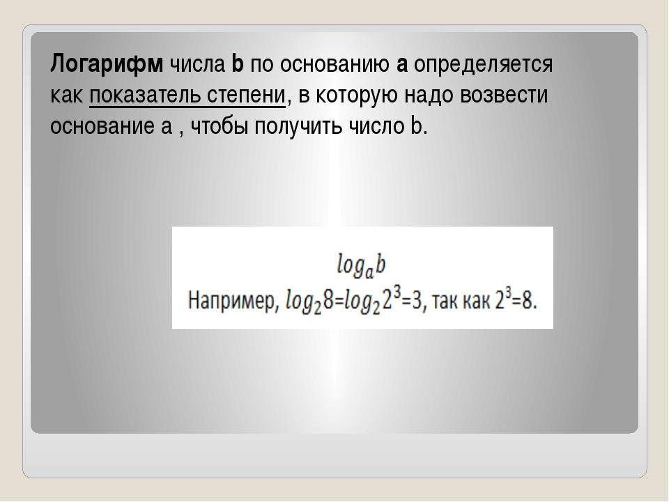 Логарифмчислаbпо основаниюaопределяется какпоказатель степени, в котор...