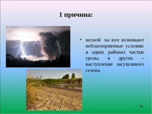 1 причина: весной на юге возникают неблагоприятные условия: в одних районах ч