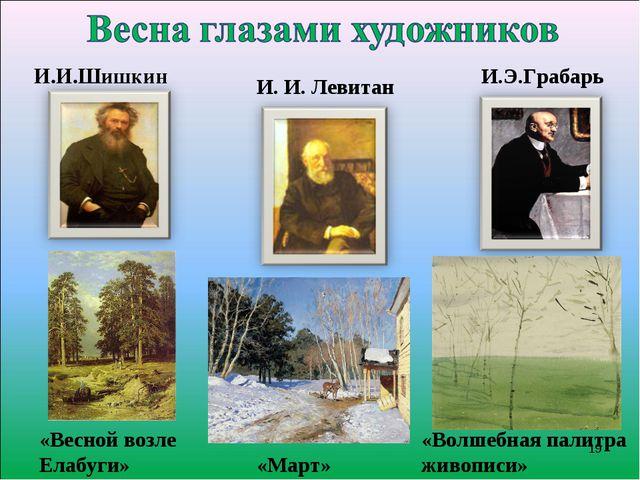 И. И. Левитан «Март» И.И.Шишкин И.Э.Грабарь «Весной возле Елабуги» «Волшебна...