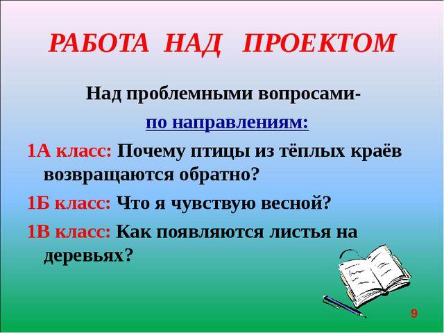РАБОТА НАД ПРОЕКТОМ Над проблемными вопросами- по направлениям: 1А класс: По...