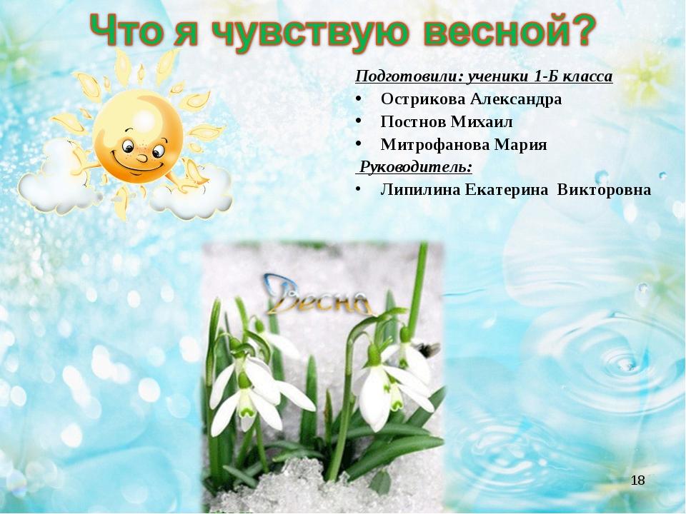 * Подготовили: ученики 1-Б класса Острикова Александра Постнов Михаил Митрофа...