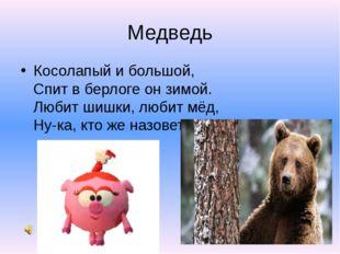 Медведь Косолапый и большой, Спит в берлоге он зимой. Любит шишки, любит мё