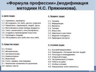 «Формула профессии».(модификация методики Н.С. Пряжникова). 1. Цели труда: 1.