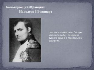 Командующий Франции: Наполеон I Бонапарт Наполеон планировал быстро закончить
