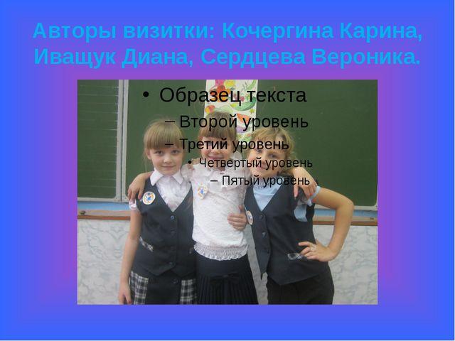 Авторы визитки: Кочергина Карина, Иващук Диана, Сердцева Вероника.