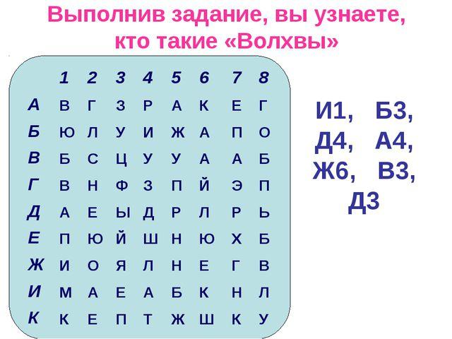 Выполнив задание, вы узнаете, кто такие «Волхвы» И1, Б3, Д4, А4, Ж6, В3, Д3...