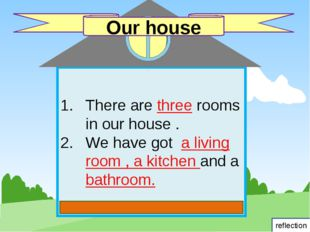There are three rooms in our house . We have got a living room , a kitchen a
