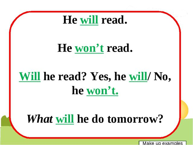 He will read. He won't read. Will he read? Yes, he will/ No, he won't. What...