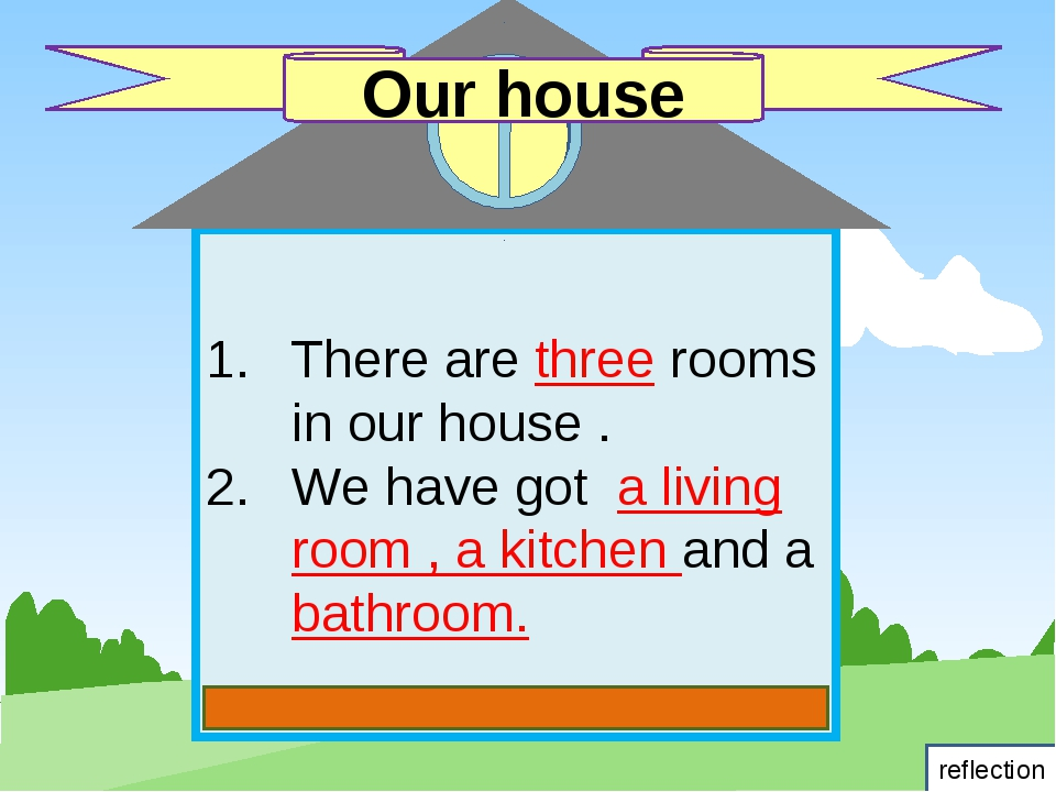 There are three rooms in our house . We have got a living room , a kitchen a...