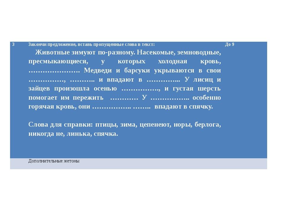 3 Закончи предложение, вставь пропущенные слова в текст: Животные зимуют по-р...