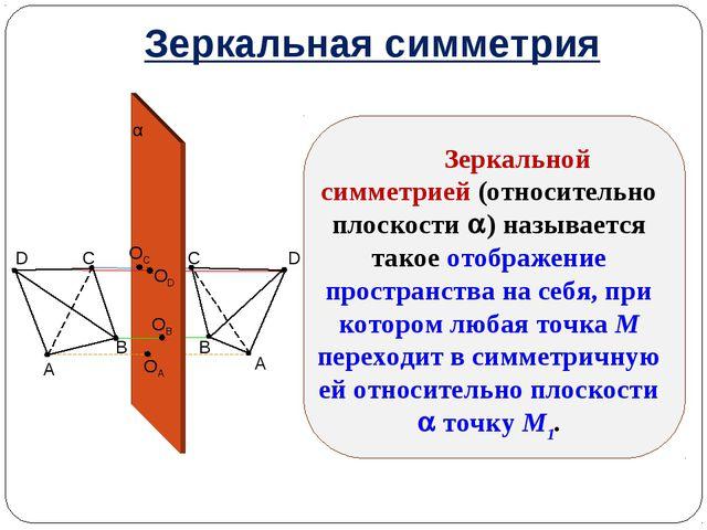 Зеркальная симметрия Зеркальной симметрией (относительно плоскости ) называе...