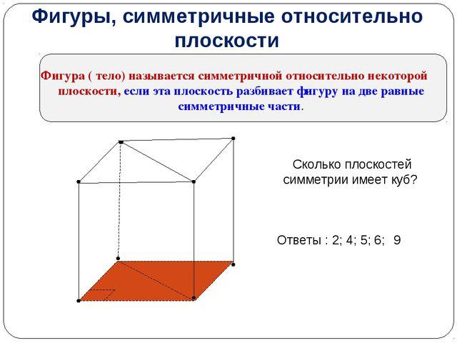 Фигуры, симметричные относительно плоскости Фигура ( тело) называется симметр...