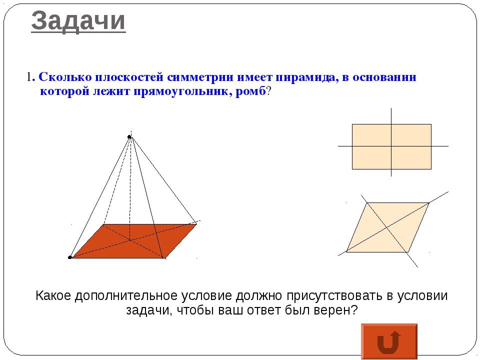 Задачи 1. Сколько плоскостей симметрии имеет пирамида, в основании которой ле...