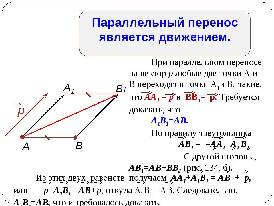 Параллельный перенос является движением. При параллельном переносе на вектор...