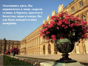 Оказавшись здесь, Вы переноситесь в эпоху «короля-солнца» и барокко, красоты