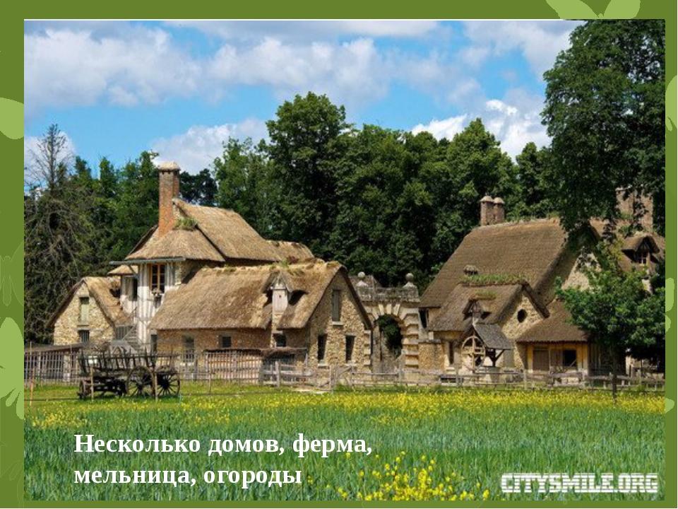 В деревне есть живописный пруд! Несколько домов, ферма, мельница, огороды