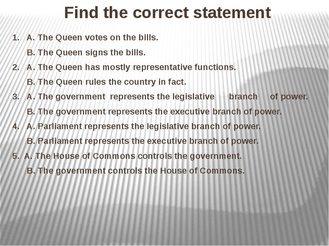 Find the correct statement 1. A. The Queen votes on the bills. B. The Queen s...