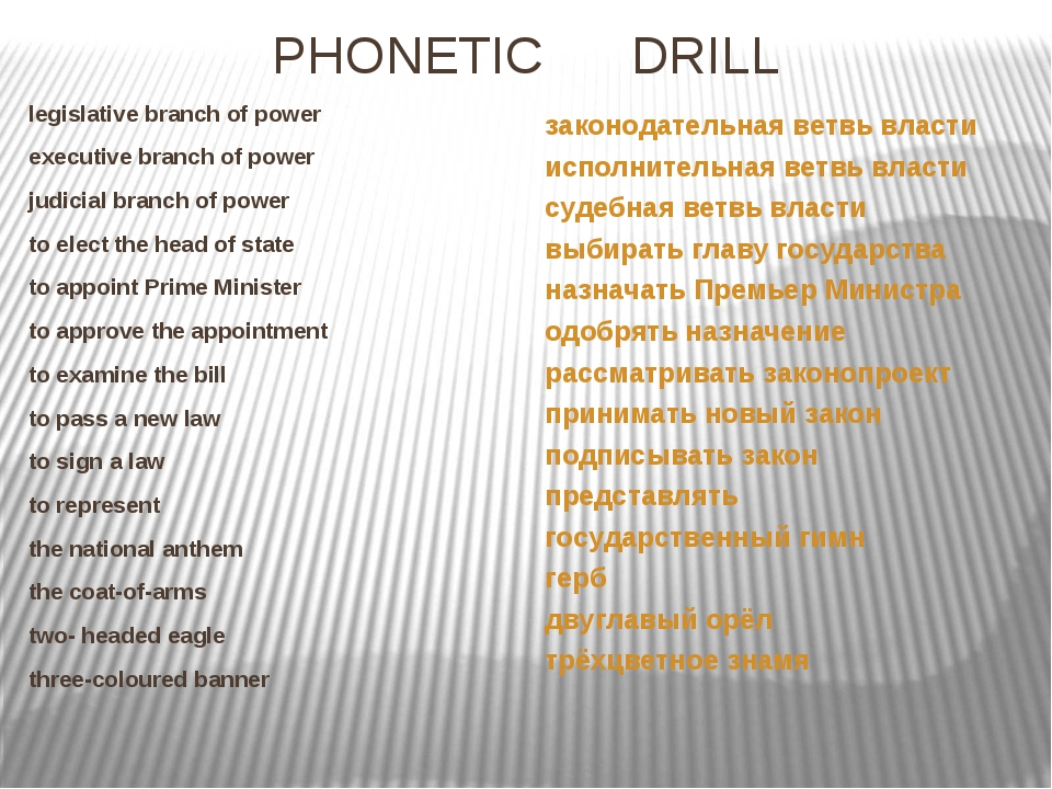 PHONETIC DRILL legislative branch of power executive branch of power judicial...