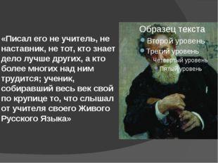 «Писал его не учитель, не наставник, не тот, кто знает дело лучше других, а к