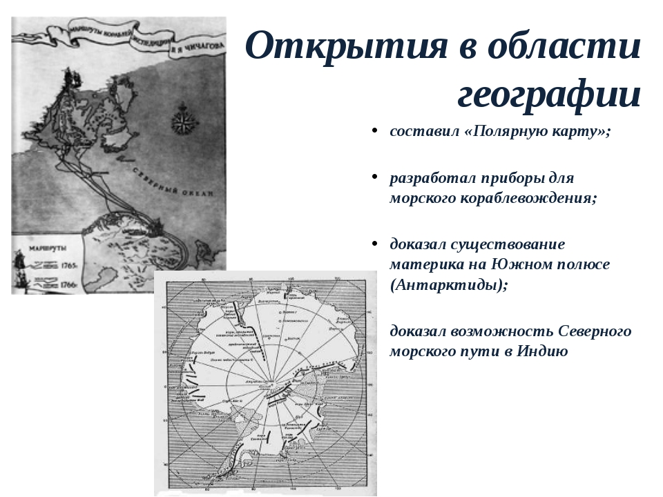 Открытия в области географии составил «Полярную карту»; разработал приборы дл...
