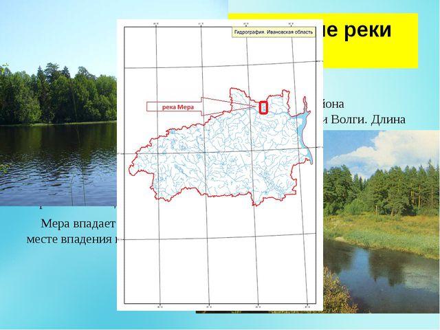 Географическое положение реки Меры. Ме́ра берет начало на Галичско-Чухломско...