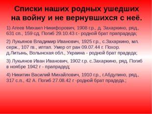 1) Агеев Михаил Никифорович, 1908 г.р., д. Захаркино, ряд., 631 сп., 159 сд.