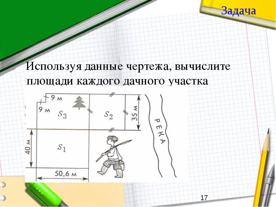 Задача Используя данные чертежа, вычислите площади каждого дачного участка