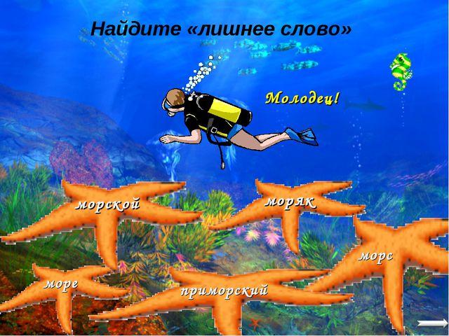 Найдите «лишнее слово» море моряк морской приморский морс Молодец!