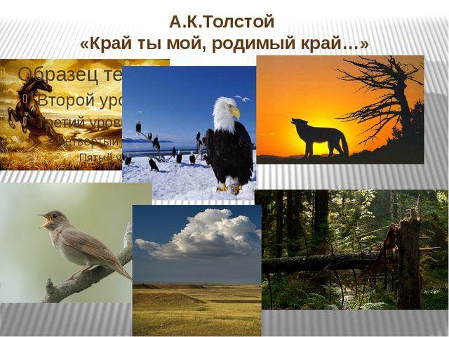 А.К.Толстой «Край ты мой, родимый край…»