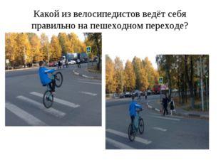 Какой из велосипедистов ведёт себя правильно на пешеходном переходе?