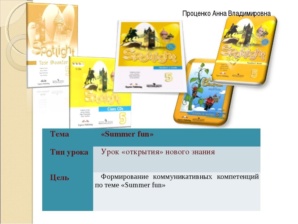 Проценко Анна Владимировна Тема«Summer fun» Тип урокаУрок «открытия» новог...